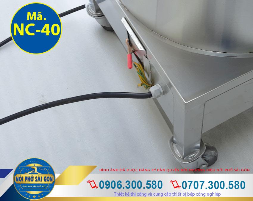 Chi tiết phần dây điện nồi nấu cháo công nghiệp bằng điện (Ảnh thật tế).