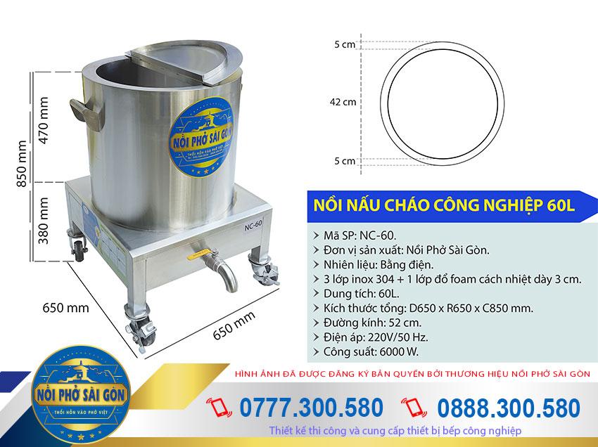 Kích thước nồi nấu cháo công nghiệp, nồi nấu cháo inox 60L NC-60.