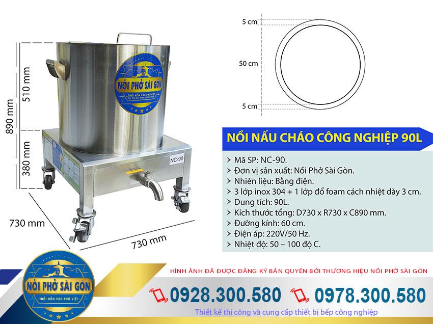 Kích thước nồi nấu cháo inox công nghiệp 90l, nồi nấu cháo bằng điện 90 lít, nồi hầm cháo công nghiệp 90 lít NC-90.