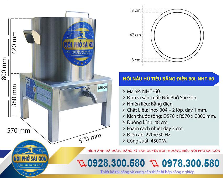 Kích thước bếp điện nấu hủ tiếu, nồi nấu hủ tiếu bằng điện 50L NHT-50.