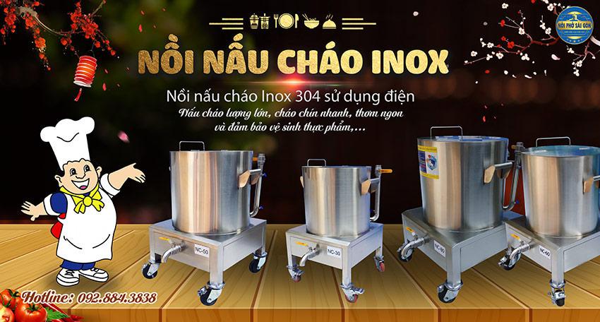 Mua ngay nồi nấu cháo inox công nghiệp, nồi nấu cháo dinh dưỡng công nghiệp, nồi điện nấu cháo bán của thương hiệu Nồi Phở Sài Gòn.