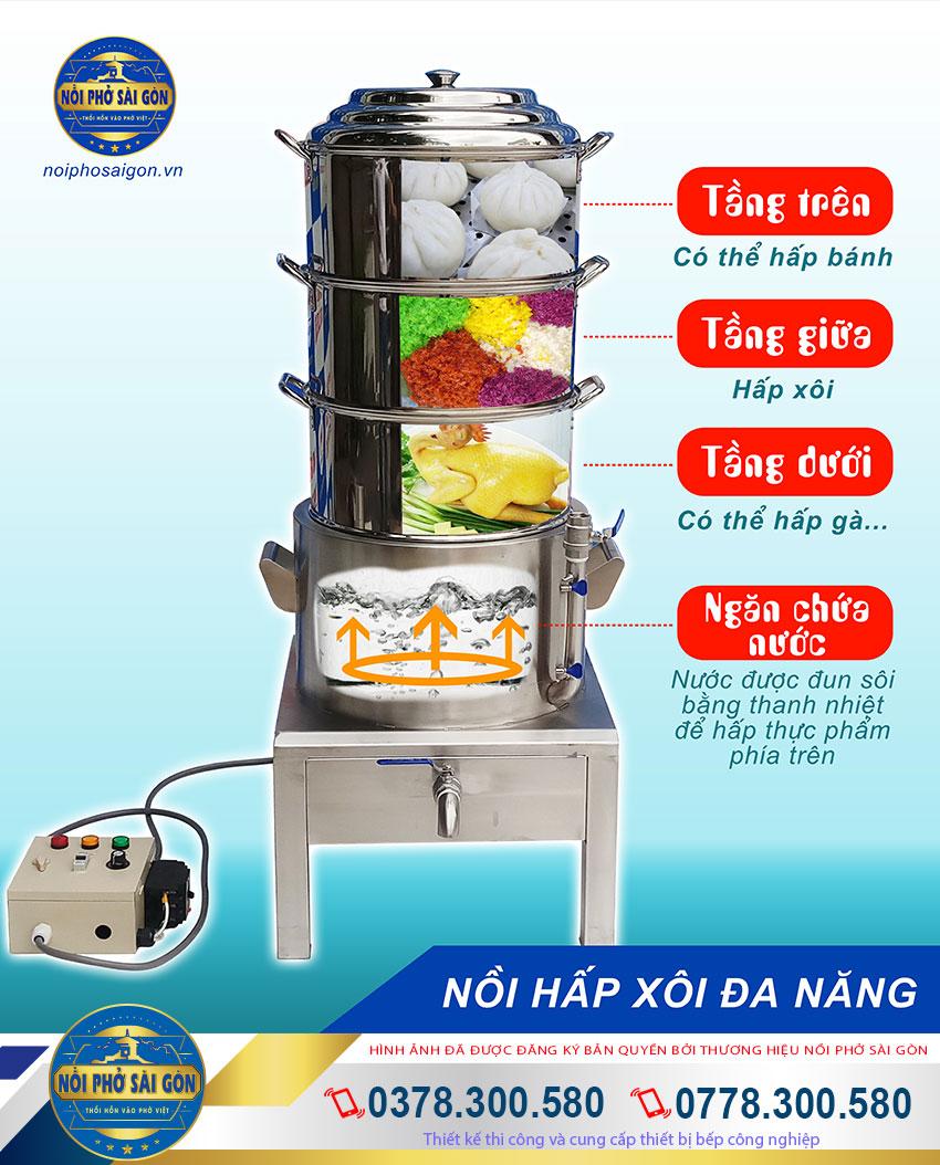 Nồi hấp xôi công nghiệp bằng điện của Noiphosaigon.vn - Nồi hấp điện đa năng hấp chín nhiều loại thực phẩm một cách nhanh chóng dễ dàng.