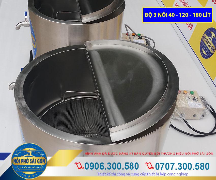 Bộ nồi điện nấu phở đến từ thương hiệu Nồi Phở Sài Gòn. Được gia công từ chất liệu inox 304 bền đẹp. Kiểu dáng sang trọng.