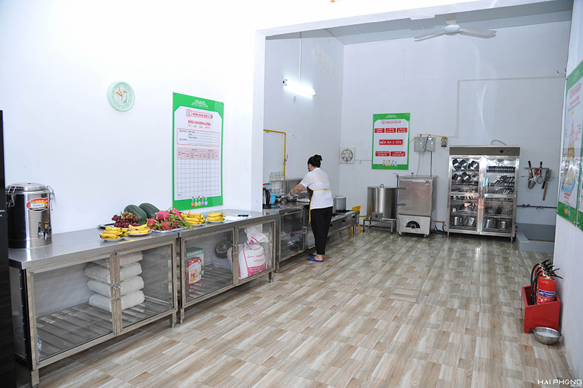 Hệ thống bếp ăn tại trường mâm non.