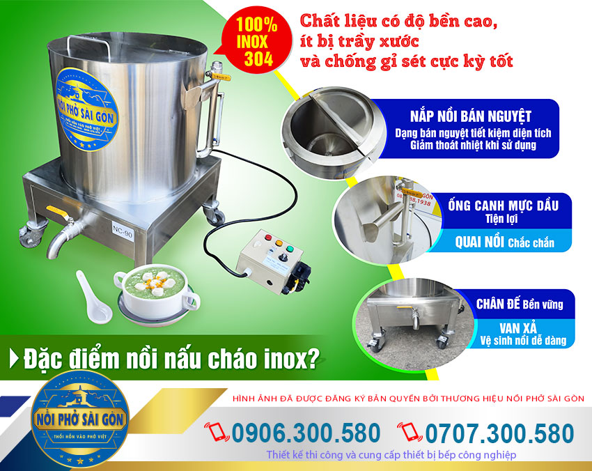 Đặc điểm nồi nấu cháo bằng điện công nghiệp của Nồi Phở Sài Gòn.